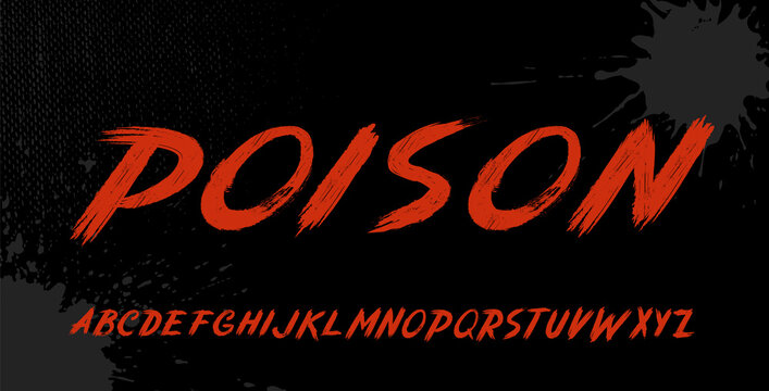 Brush font, this alphabet can be used for emblems, shirt designs, posters, stickers for such sports themes as mixed martial arts, ski, street racing, or for many others.