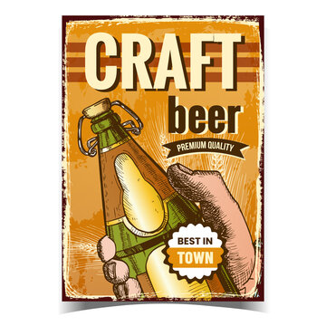 Craft Beer Creative Advertising Poster Vector. Man Hand Holding Beer Drink Blank Glass Bottle On Promotional Banner. Alcohol Refreshment Beverage Product Layout Hand Drawn Concept Illustration