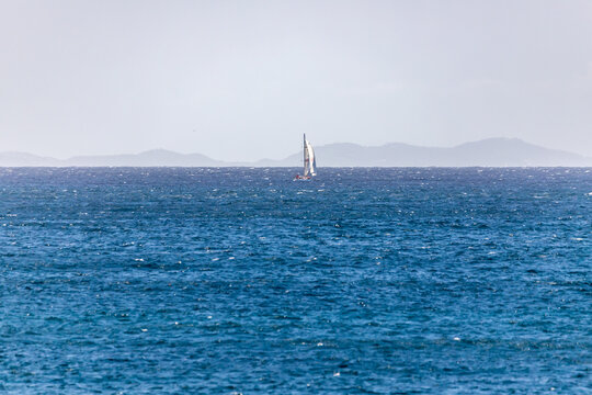Saint Vincent and the Grenadines, sailboat at sea