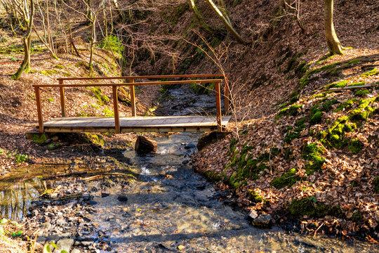 Holzbrücke über den Altehütter Bach im Tal der Wied