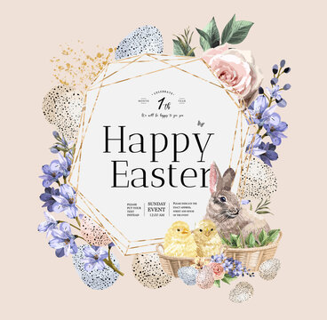 Happy Easter! Vector illustrations of watercolor cute bunny, chick, flowers, plants and greeting frame. Pictures for poster, invitation, postcard or background