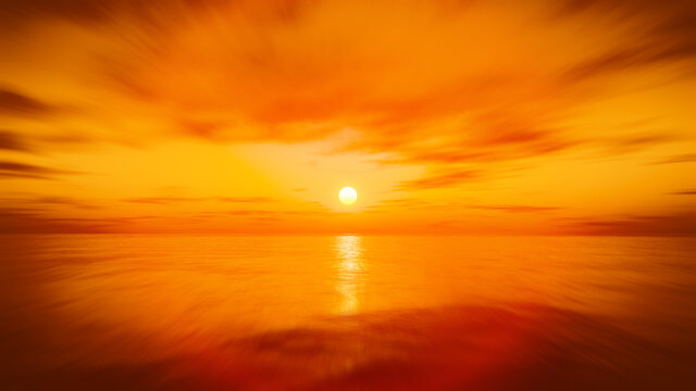 speed flight over the sunset ocean