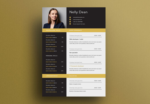 Resume Layout with Dotted Progress Chart