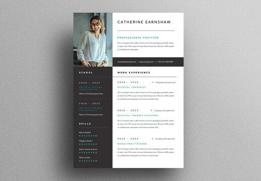 Resume Layout with Big Profile Photo Placeholder