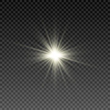 Vector light effect. Light PNG. Light rays, sun rays, star. Isolated light on a transparent background.
