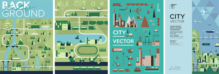 Cityscape. Set of vector illustrations. Urban landscape. Poster, Cover art. A pattern of urban elements.