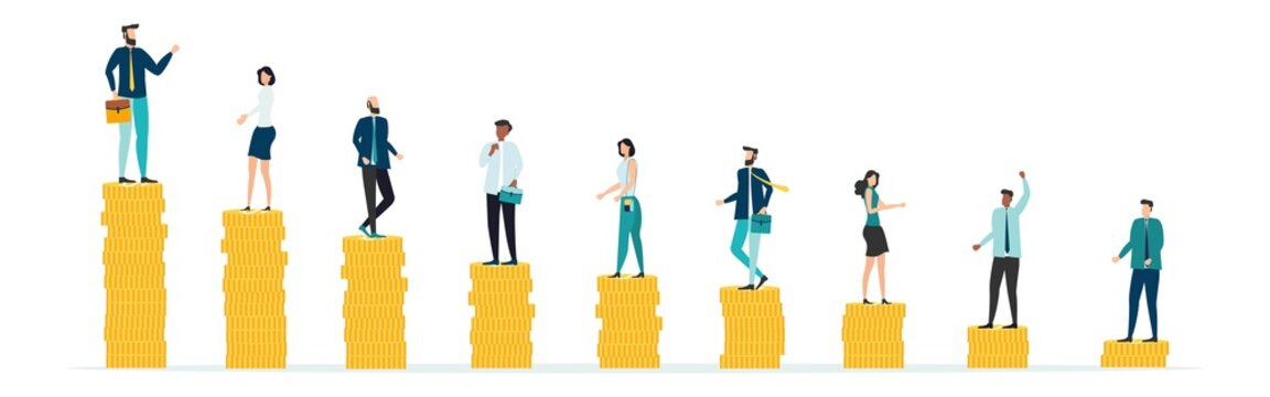 Economic inequalit. The gap between rich and poor.unfair income. White rich businessman standing on a tower of coins with a high salary with poor people black and white on low piles.Vector