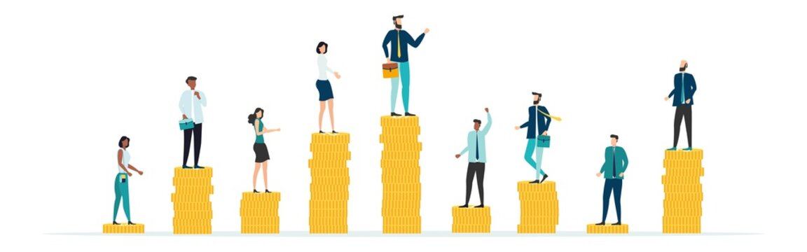 Economic inequalit. The gap between rich and poor.unfair income. White rich businessman standing on a tower of coins with a high salary with poor people black and white on low piles.Vector.