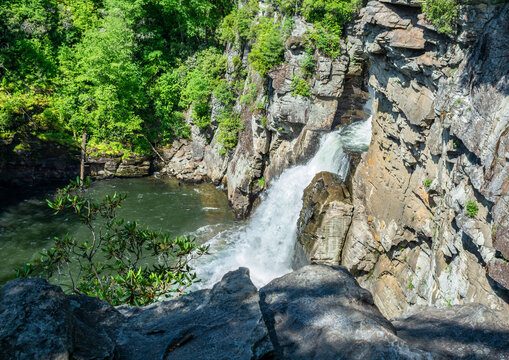 """Linville Falls, waterfall plunging into Linville Gorge, the """"Grand Canyon of the Southern Appalachians"""", just off Blue Ridge Parkway.Blue Ridge Mountains. Linville Falls, North Carolina."""