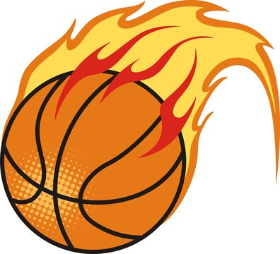 Hand drawn basketball with flame icon on white background