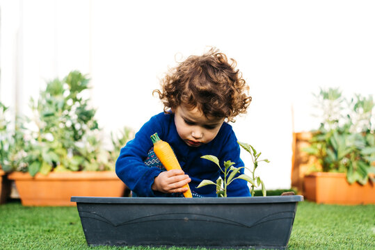 Little girl plays in the garden to plant plants in a pot.