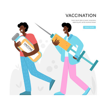 The doctors are carrying a large syringe and a vaccine. Prevention injection, immunization. Coronavirus infection treatment. Vaccination.