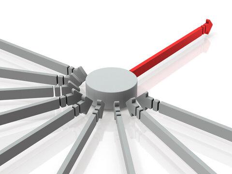 集中と選択。沢山の矢印が集中する拠点。白バック。3Dレンダリング。