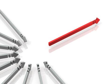 集中と選択。沢山の矢印が集中し、前進するイメージ。白バック。3Dレンダリング。