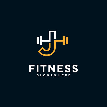 fitness logo alphabet letter with Kettlebell fitness vector icon design and Barbell Fitness Gym Logo Design