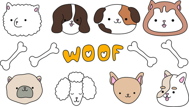 Postcard vector illustration eps 10. Set with cute happy dogs. I love pet woof collection isolated on white background.