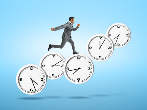 Running young businessman with clocks on color background. Deadline concept