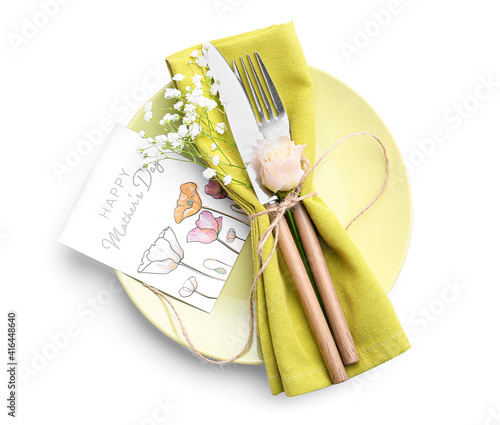 Beautiful table setting for Mother's Day on white background