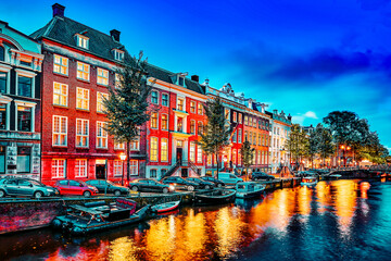 Fototapeta Beautiful Amsterdam city at the evening time. obraz