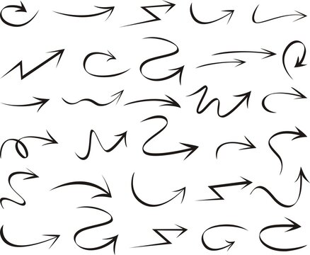 Set of arrows vector illustration.Arrow doodles vector. A set of simple sketches of arrows. Up, down, left, right ones