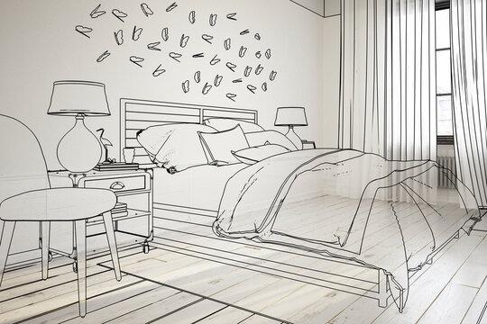 Cosy Bedroom Design (illustration) - 3D Visualization