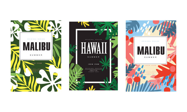 Malibu, Hawaii Summer Banner Templates Set, Tropical Poster, Card, Background, Flyer, Invitation with Exotic Seamless Pattern Design Vector Illustration