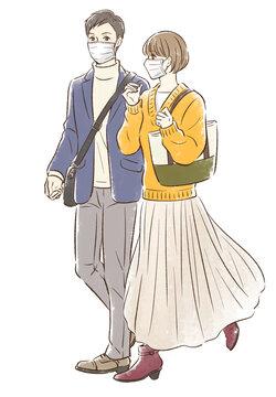 秋っぽい服装でデートするカップル_マスクあり
