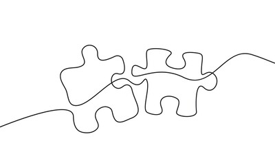 Continuous One Line Drawing of Puzzle Black Sketch on White Background. Puzzle Simple One Line Illustration. Line Art Abstract Business Concept. Minimalist Contour Drawing. Vector EPS 10