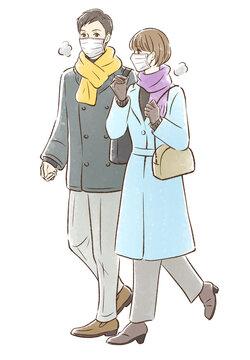 冬っぽい服装でデートするカップル_マスクあり