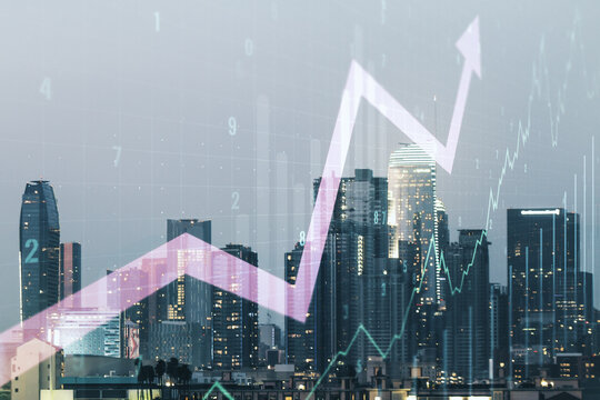 Double exposure of abstract creative financial chart and upward arrow illustration on Los Angeles city skyscrapers background, research and strategy concept