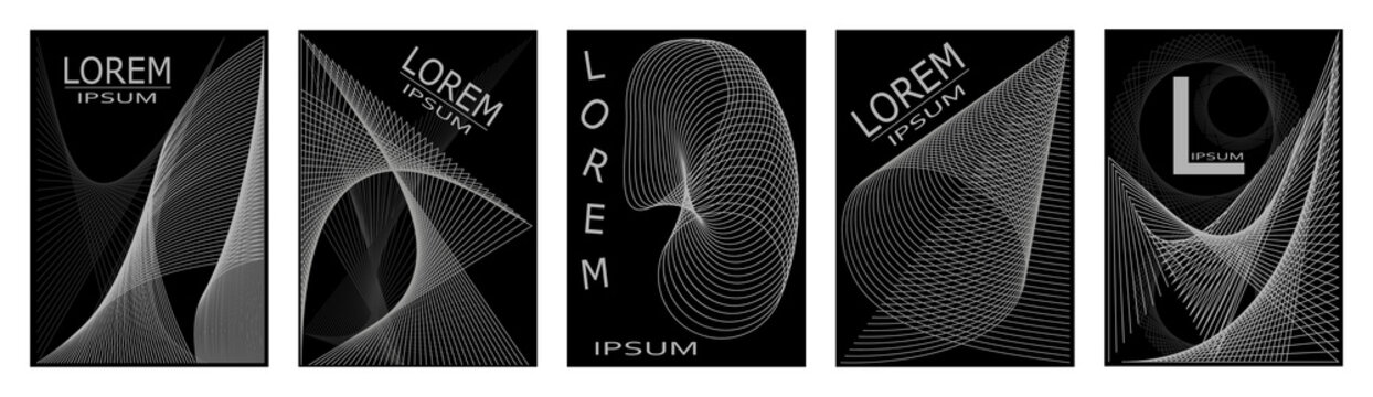 A set of vector illustrations for cover design and presentations. Linear optical drawing on a black background.