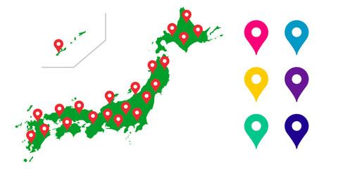 日本地図, 日本全国, 日本, 地図, 全国, マップのベクターアイコンイラスト素材