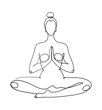 Continuous one line drawing. The meditating woman is sitting in the lotus position. The concept of yoga, peace of mind, esoteric practices. Minimalist vector illustration.