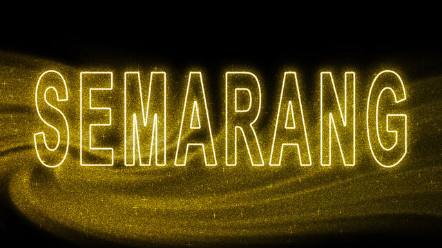 Semarang Gold glitter lettering, Semarang Tourism and travel, Creative typography text banner