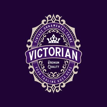 Vintage decorative ornamental frame badge logo