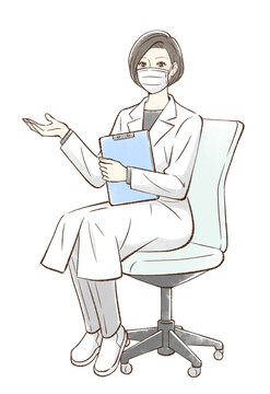 椅子に座って手を差し出すドクター_マスクあり
