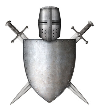 medieval knight shield, helmet and crossed swords isolated 3d illustration