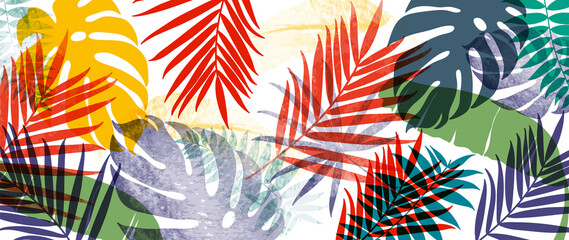 Summer tropical background vector. Palm leaves, monstera leaf, Botanical pattern trendy design for wall framed prints, canvas prints, poster, home decor, cover, flower wall arts, wallpaper.