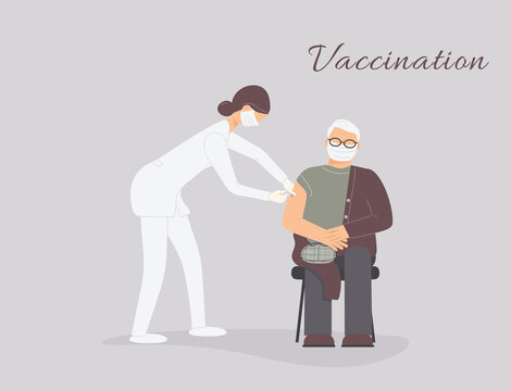 Coronavirus vaccination of patient by doctor.Older man in protective medical mask get virus grafting at physician cabinet. Therapist hold syringe with dose of medicine.Nurse vaccinate pensioner.Raster