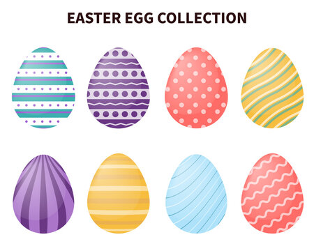 Easter eggs collection with different pattern or motifs