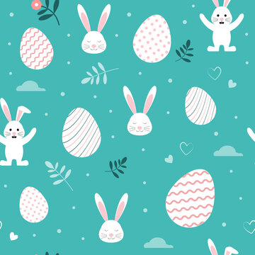 Seamless pattern with cute bunnies and easter eggs