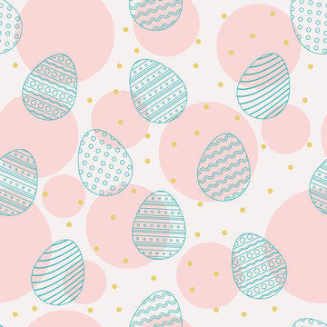 Seamless pattern with hand-drawn easter eggs
