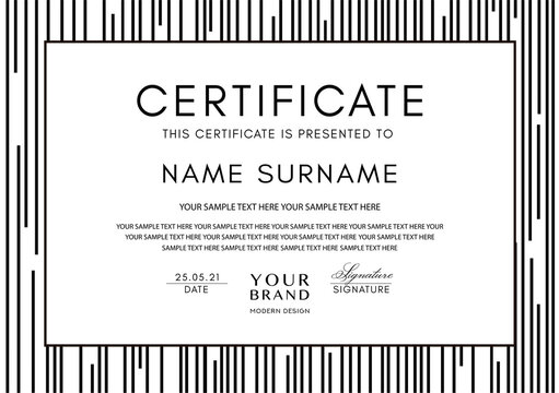 Certificate template with abstract black line pattern and frame on white background. Vector stripe design for Diploma, certificate of appreciation or award