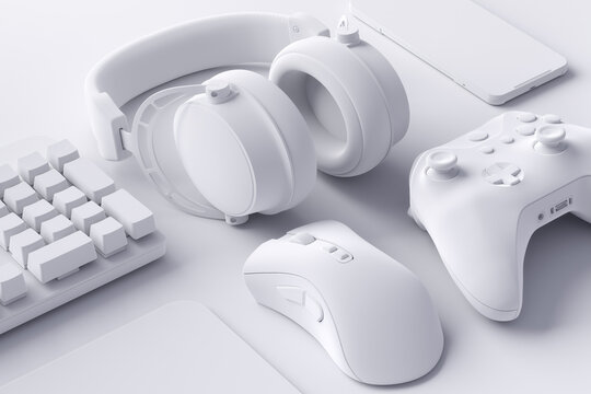Top view of gamer workspace and gear like mouse, keyboard, joystick, mobile