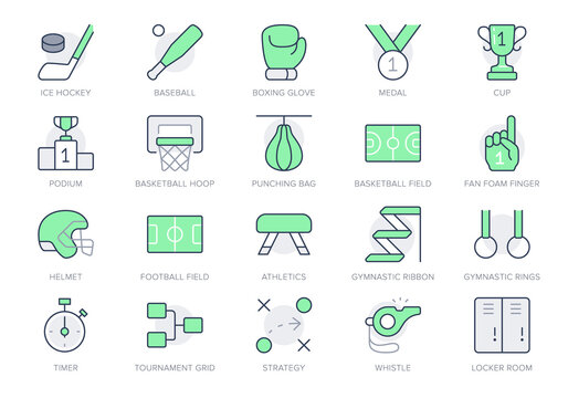 Sport competition simple line icons. Vector illustration with minimal icon - baseball and football field, cup, baseball bat, ice hockey puck, box glove pictogram. Green Color Editable Stroke