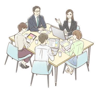 女性を中心にグループでミーティング