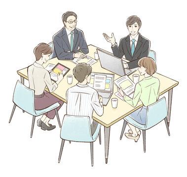 男性を中心にグループでミーティング