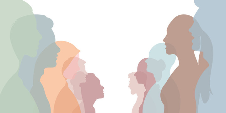 Group of multi-ethnic business co-workers and colleagues. Silhouette of diversity people side. vector illustration.