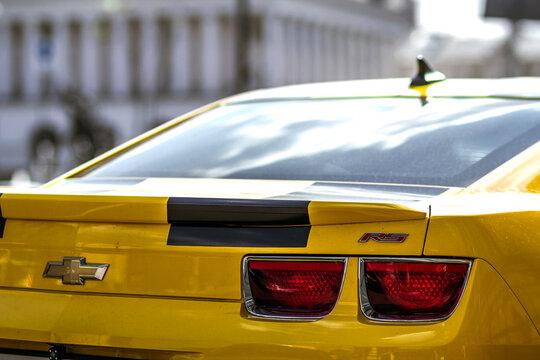 Kyiv, Ukraine - November 14, 2017: Close-up detail of modern yellow sports car