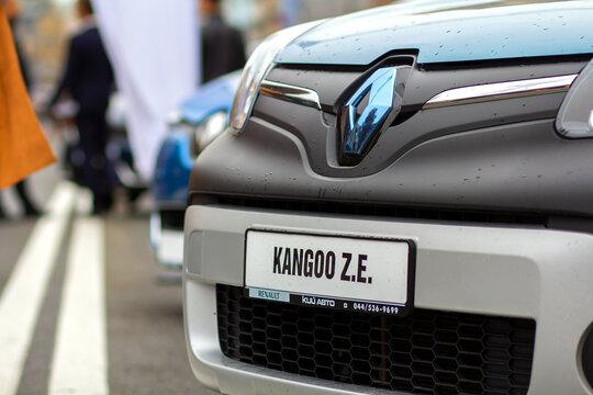 Kyiv, Ukraine - July 12, 2020: Renault Kangoo electric car parled on a street.